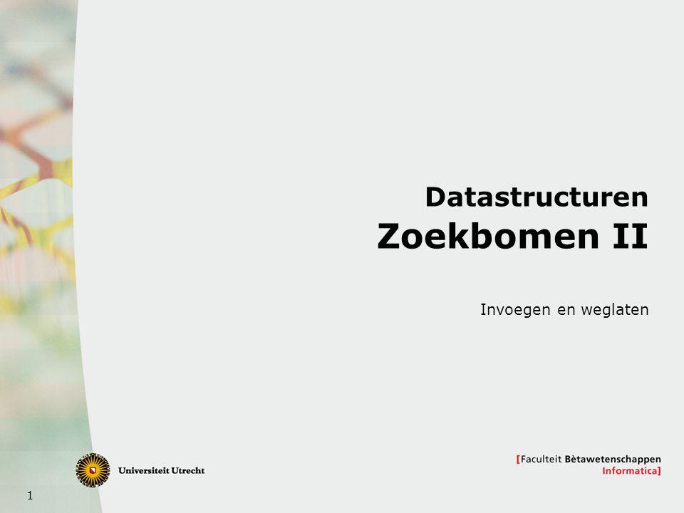 1 Datastructuren Zoekbomen II Invoegen en weglaten