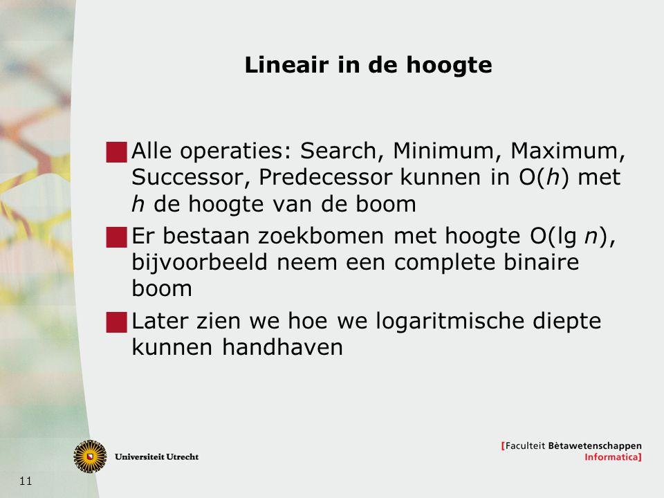 11 Lineair in de hoogte  Alle operaties: Search, Minimum, Maximum, Successor, Predecessor kunnen in O(h) met h de hoogte van de boom  Er bestaan zoekbomen met hoogte O(lg n), bijvoorbeeld neem een complete binaire boom  Later zien we hoe we logaritmische diepte kunnen handhaven