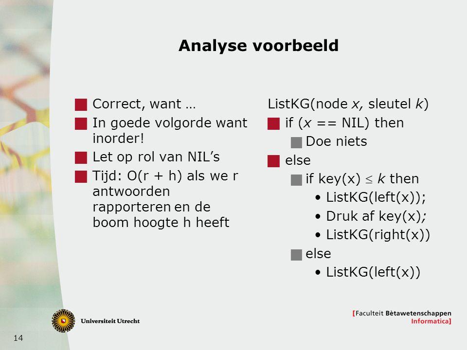 14 Analyse voorbeeld  Correct, want …  In goede volgorde want inorder.