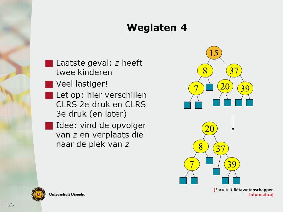 25 Weglaten 4  Laatste geval: z heeft twee kinderen  Veel lastiger.