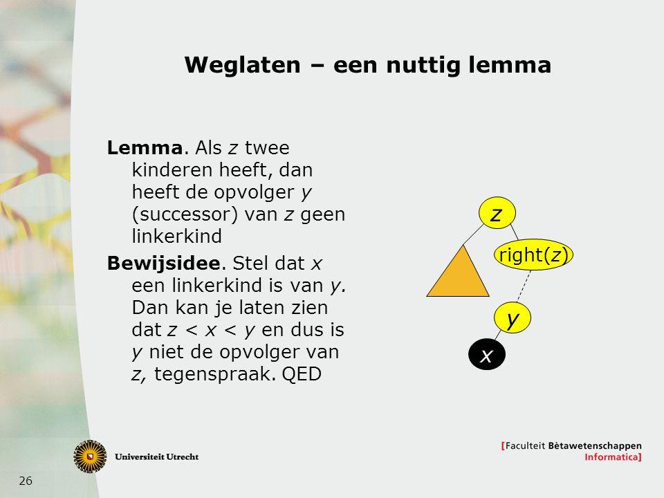 26 Weglaten – een nuttig lemma Lemma.