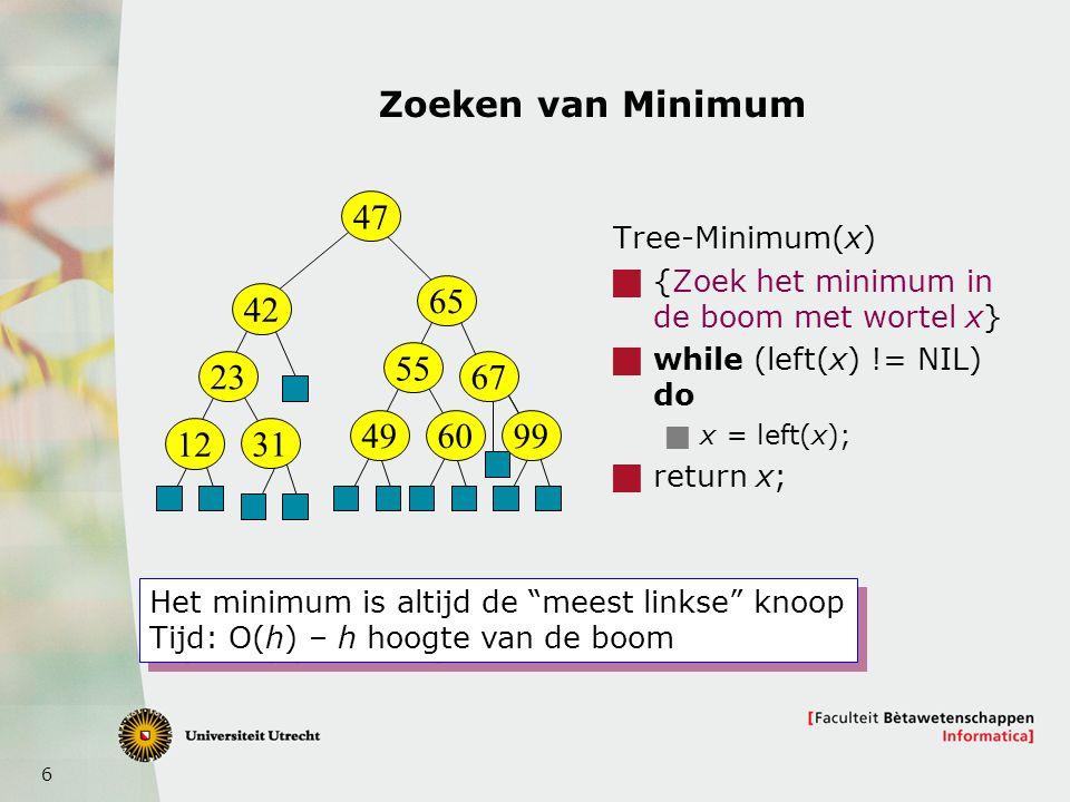 6 Zoeken van Minimum Tree-Minimum(x)  {Zoek het minimum in de boom met wortel x}  while (left(x) != NIL) do  x = left(x);  return x; 47 42 23 12 31 65 55 49 67 9960 Het minimum is altijd de meest linkse knoop Tijd: O(h) – h hoogte van de boom Het minimum is altijd de meest linkse knoop Tijd: O(h) – h hoogte van de boom