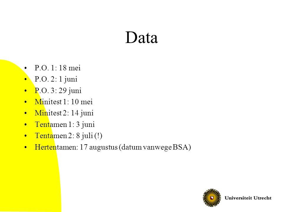 Data P.O.1: 18 mei P.O. 2: 1 juni P.O.