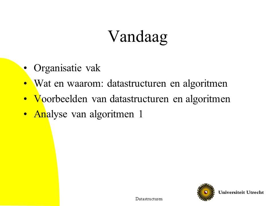Vandaag Organisatie vak Wat en waarom: datastructuren en algoritmen Voorbeelden van datastructuren en algoritmen Analyse van algoritmen 1 Datastructur