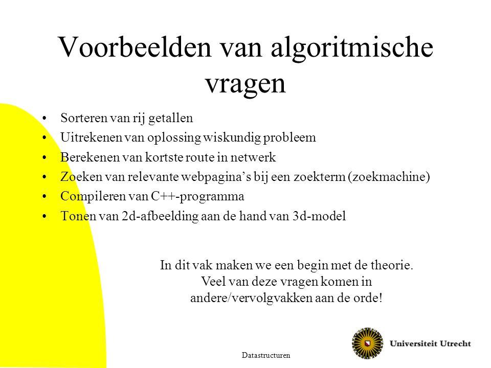 Voorbeelden van algoritmische vragen Sorteren van rij getallen Uitrekenen van oplossing wiskundig probleem Berekenen van kortste route in netwerk Zoek