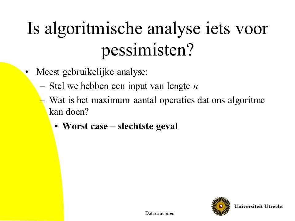 Is algoritmische analyse iets voor pessimisten? Meest gebruikelijke analyse: –Stel we hebben een input van lengte n –Wat is het maximum aantal operati