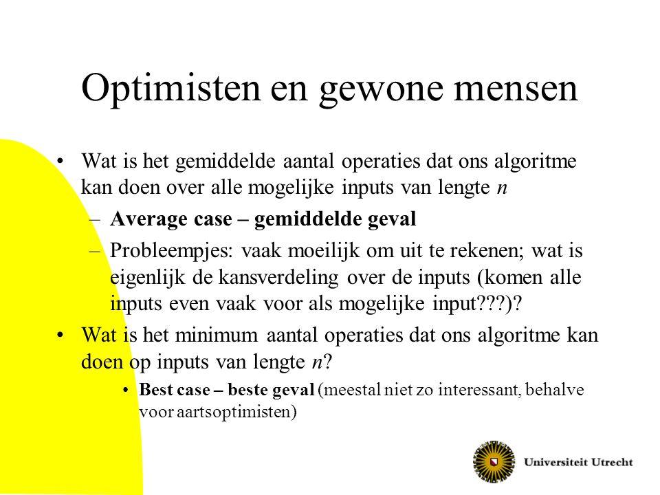 Optimisten en gewone mensen Wat is het gemiddelde aantal operaties dat ons algoritme kan doen over alle mogelijke inputs van lengte n –Average case –