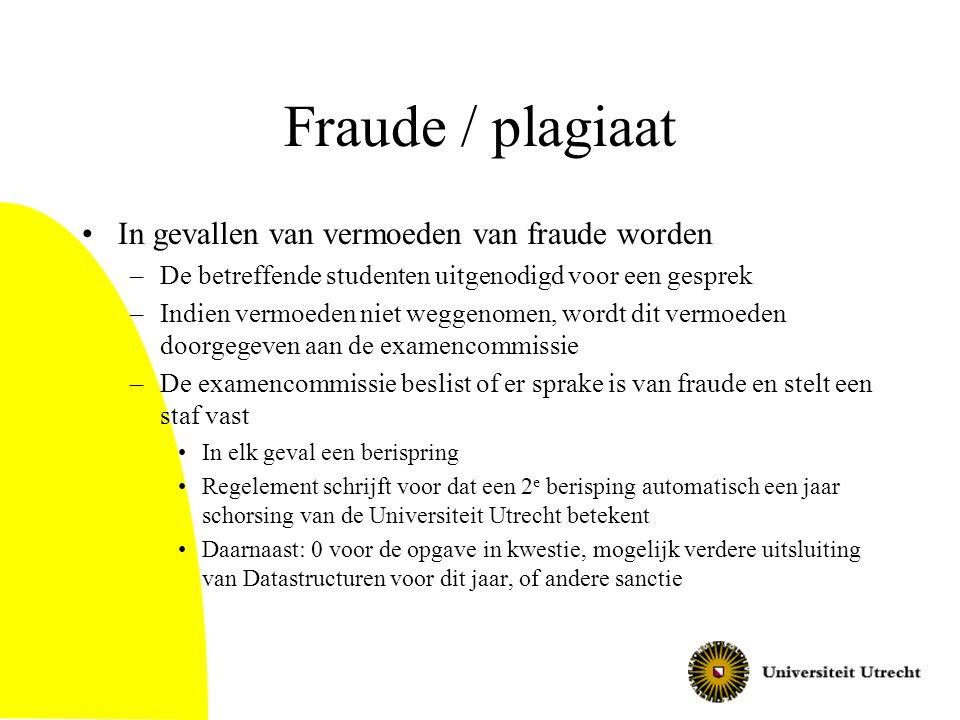Fraude / plagiaat In gevallen van vermoeden van fraude worden –De betreffende studenten uitgenodigd voor een gesprek –Indien vermoeden niet weggenomen, wordt dit vermoeden doorgegeven aan de examencommissie –De examencommissie beslist of er sprake is van fraude en stelt een staf vast In elk geval een berispring Regelement schrijft voor dat een 2 e berisping automatisch een jaar schorsing van de Universiteit Utrecht betekent Daarnaast: 0 voor de opgave in kwestie, mogelijk verdere uitsluiting van Datastructuren voor dit jaar, of andere sanctie