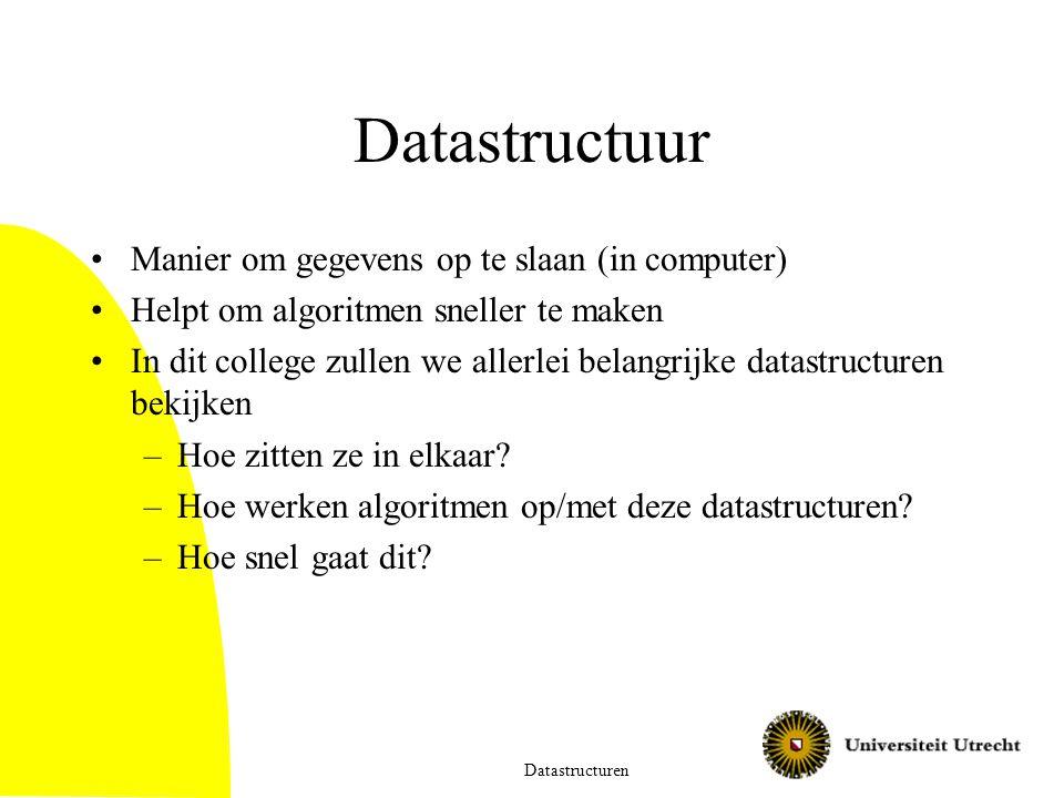 Datastructuur Manier om gegevens op te slaan (in computer) Helpt om algoritmen sneller te maken In dit college zullen we allerlei belangrijke datastructuren bekijken –Hoe zitten ze in elkaar.
