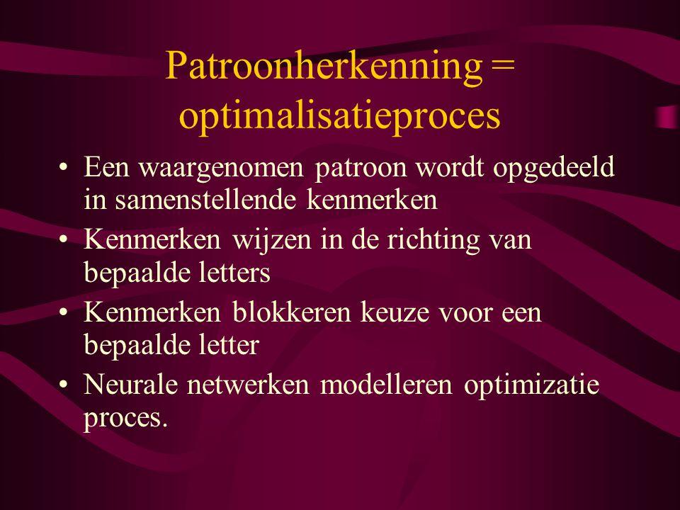 Patroonherkenning = optimalisatieproces Een waargenomen patroon wordt opgedeeld in samenstellende kenmerken Kenmerken wijzen in de richting van bepaalde letters Kenmerken blokkeren keuze voor een bepaalde letter Neurale netwerken modelleren optimizatie proces.