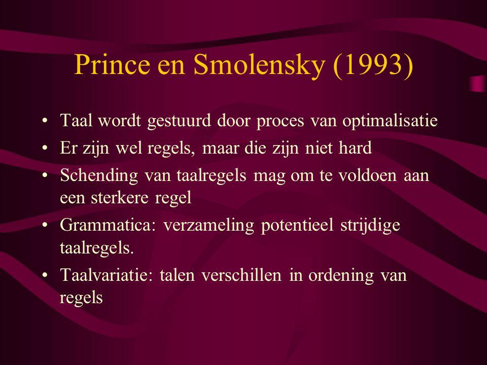 Prince en Smolensky (1993) Taal wordt gestuurd door proces van optimalisatie Er zijn wel regels, maar die zijn niet hard Schending van taalregels mag om te voldoen aan een sterkere regel Grammatica: verzameling potentieel strijdige taalregels.