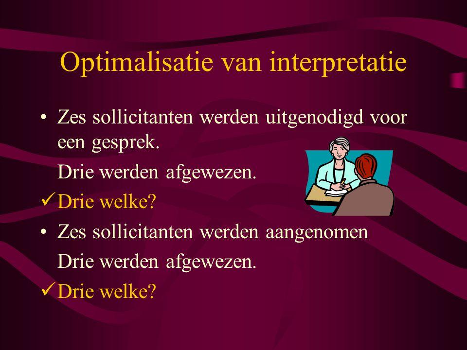Optimalisatie van interpretatie Zes sollicitanten werden uitgenodigd voor een gesprek.