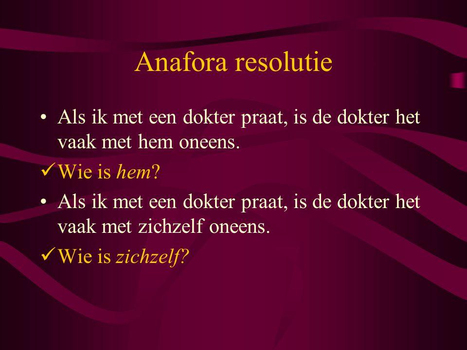 Anafora resolutie Als ik met een dokter praat, is de dokter het vaak met hem oneens.