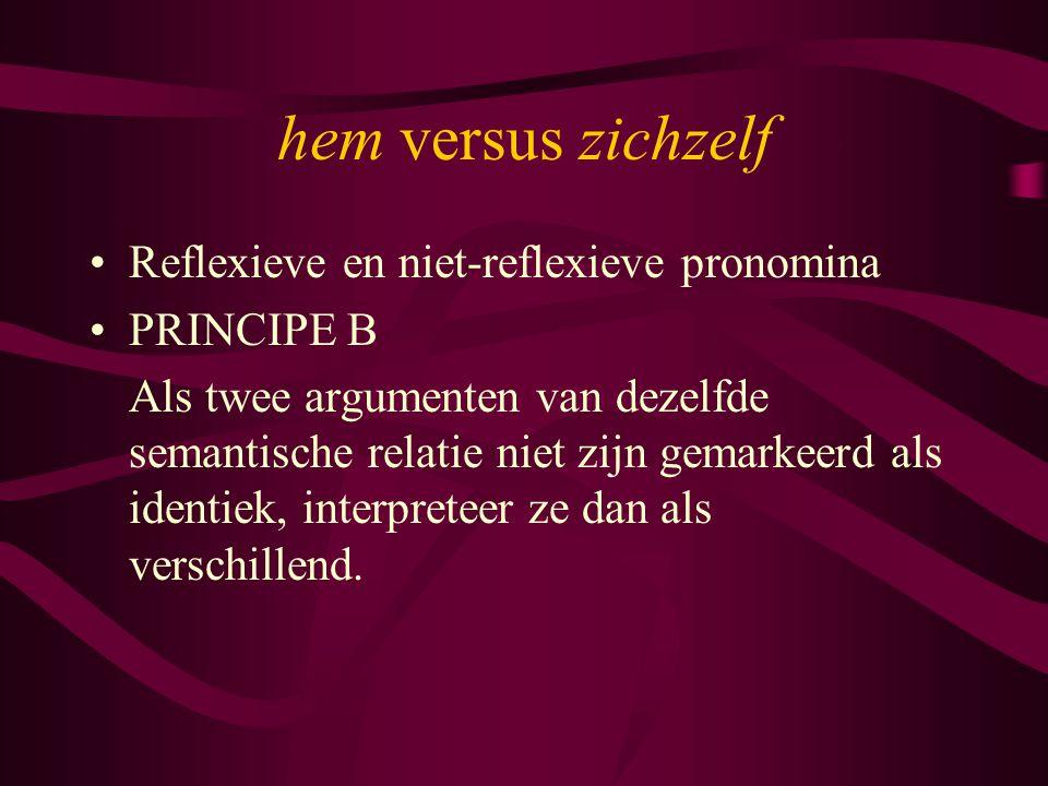 hem versus zichzelf Reflexieve en niet-reflexieve pronomina PRINCIPE B Als twee argumenten van dezelfde semantische relatie niet zijn gemarkeerd als identiek, interpreteer ze dan als verschillend.