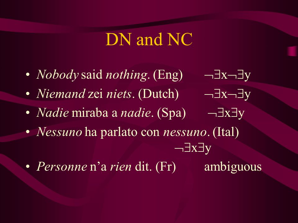 DN and NC Nobody said nothing. (Eng)  x  y Niemand zei niets.