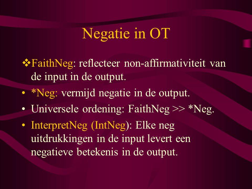 Negatie in OT  FaithNeg: reflecteer non-affirmativiteit van de input in de output.