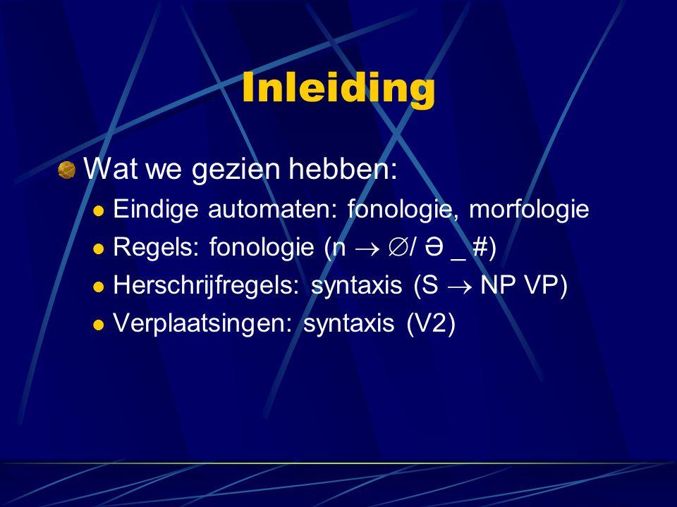 Inleiding Wat we gezien hebben: Eindige automaten: fonologie, morfologie Regels: fonologie (n   / Ə _ #) Herschrijfregels: syntaxis (S  NP VP) Verp