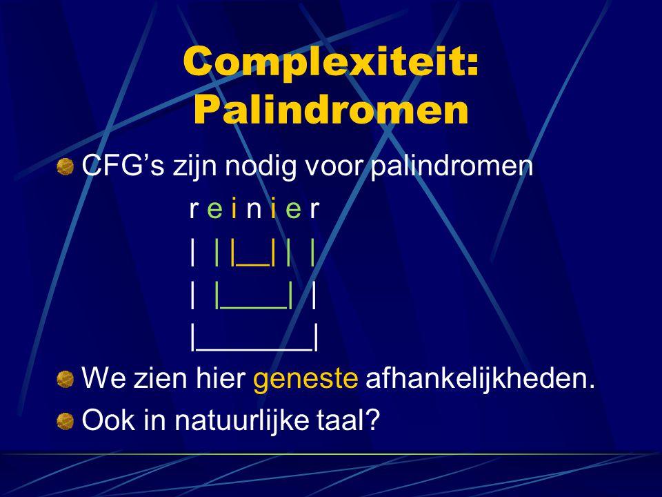 Complexiteit: Palindromen CFG's zijn nodig voor palindromen r e i n i e r | | |__| | | | |____| | |_______| We zien hier geneste afhankelijkheden. Ook