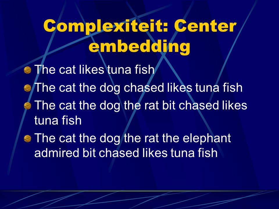 Complexiteit: Center embedding The cat likes tuna fish The cat the dog chased likes tuna fish The cat the dog the rat bit chased likes tuna fish The c