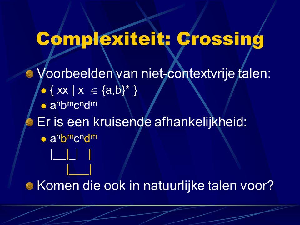 Complexiteit: Crossing Voorbeelden van niet-contextvrije talen: { xx | x  {a,b}* } a n b m c n d m Er is een kruisende afhankelijkheid: a n b m c n d m |__|_| | |___| Komen die ook in natuurlijke talen voor?