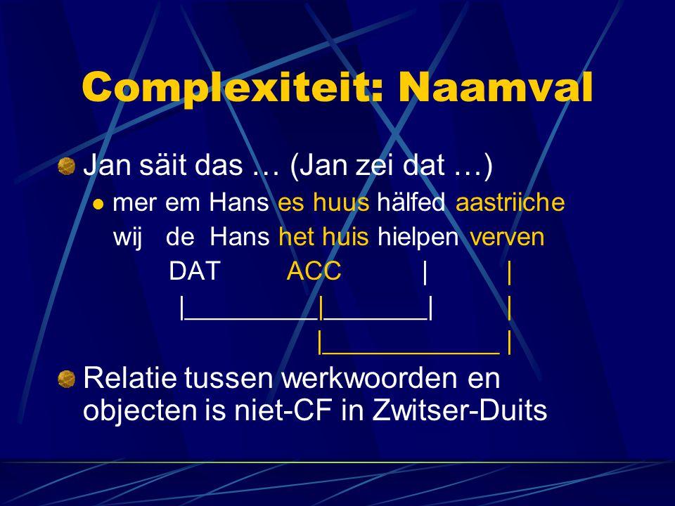 Complexiteit: Naamval Jan säit das … (Jan zei dat …) mer em Hans es huus hälfed aastriiche wij de Hans het huis hielpen verven DAT ACC | | |_________|_______| | |____________ | Relatie tussen werkwoorden en objecten is niet-CF in Zwitser-Duits