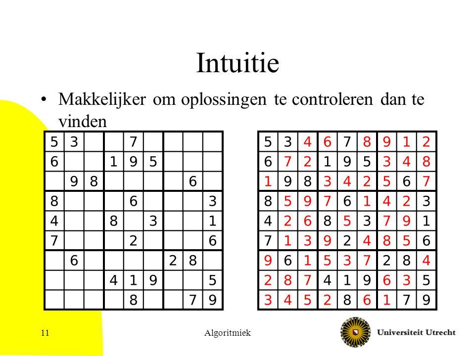 Intuitie Makkelijker om oplossingen te controleren dan te vinden Algoritmiek11