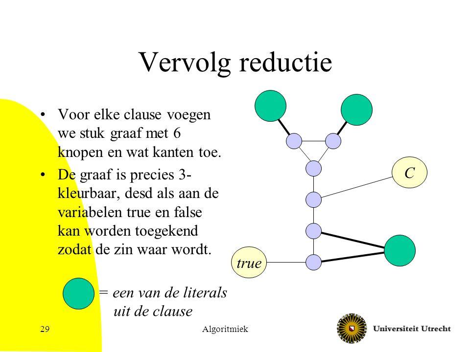 Algoritmiek29 Vervolg reductie Voor elke clause voegen we stuk graaf met 6 knopen en wat kanten toe. De graaf is precies 3- kleurbaar, desd als aan de