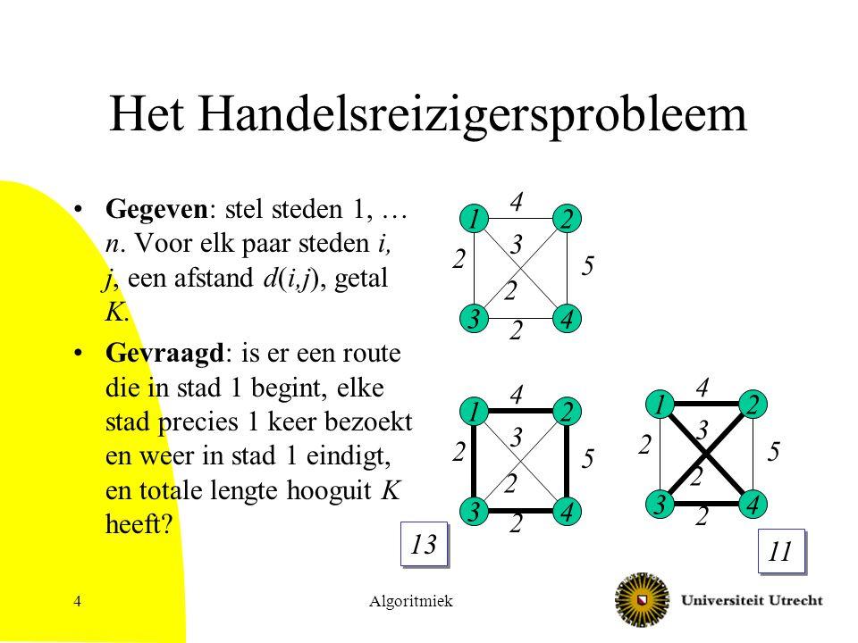 Algoritmiek4 Het Handelsreizigersprobleem Gegeven: stel steden 1, … n. Voor elk paar steden i, j, een afstand d(i,j), getal K. Gevraagd: is er een rou