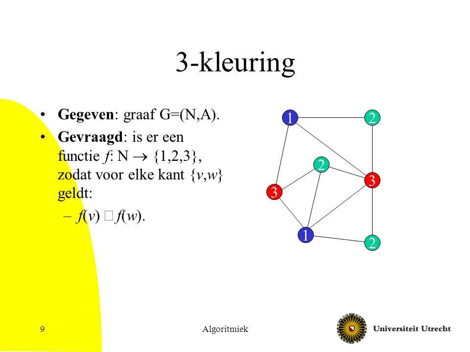 Algoritmiek9 3-kleuring Gegeven: graaf G=(N,A). Gevraagd: is er een functie f: N  {1,2,3}, zodat voor elke kant {v,w} geldt: –f(v)  f(w). 12 3 2 1 3
