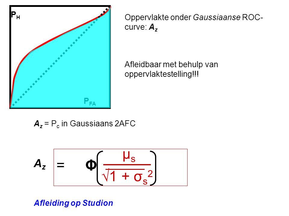PHPH Oppervlakte onder Gaussiaanse ROC- curve: A z P FA Afleidbaar met behulp van oppervlaktestelling!!.