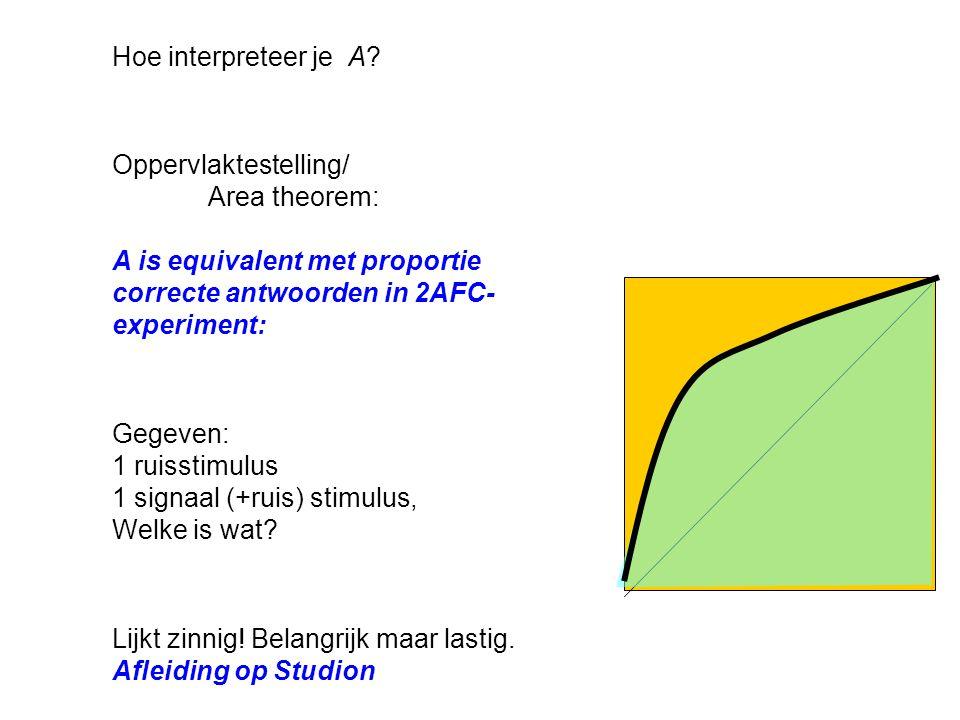 Maten voor criterium: 2.Likelihood ratio p(x c |S)/p(x c |N) = h/f (vgl β) 1.