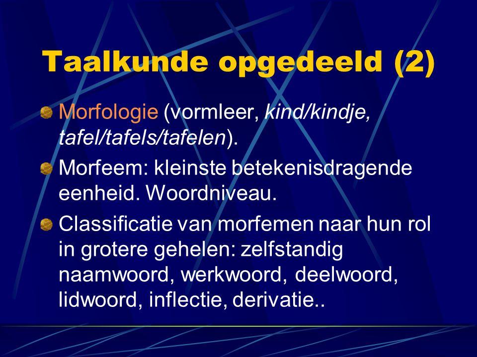 Taalkunde opgedeeld (2) Morfologie (vormleer, kind/kindje, tafel/tafels/tafelen). Morfeem: kleinste betekenisdragende eenheid. Woordniveau. Classifica