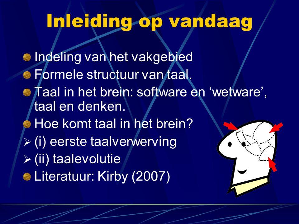 Inleiding op vandaag Indeling van het vakgebied Formele structuur van taal. Taal in het brein: software en 'wetware', taal en denken. Hoe komt taal in