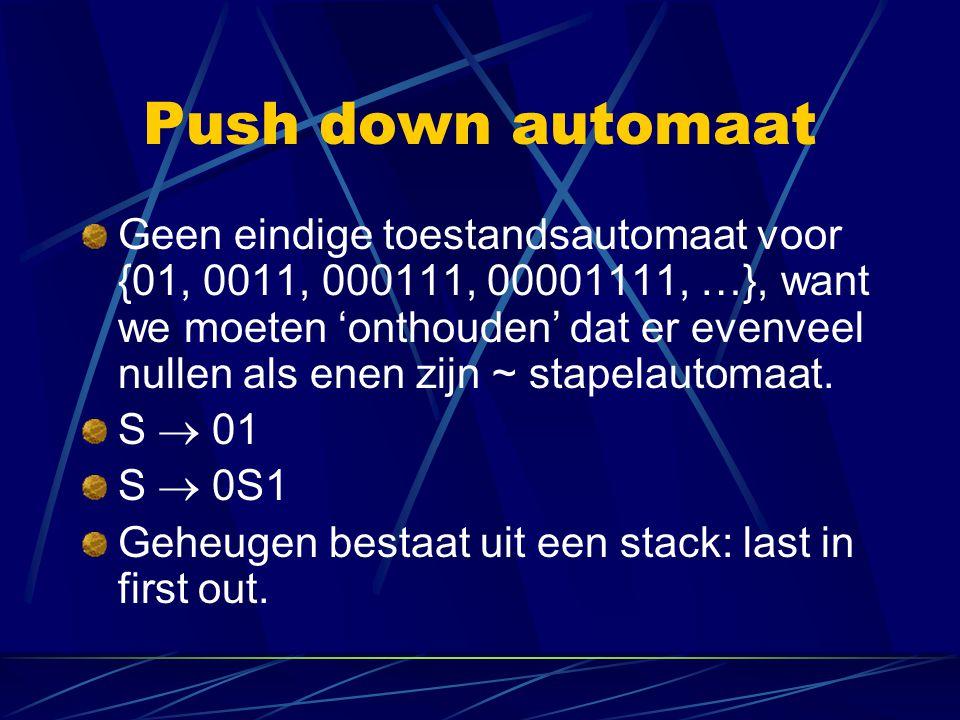 Push down automaat Geen eindige toestandsautomaat voor {01, 0011, 000111, 00001111, …}, want we moeten 'onthouden' dat er evenveel nullen als enen zij