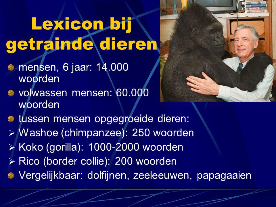 Lexicon bij getrainde dieren mensen, 6 jaar: 14.000 woorden volwassen mensen: 60.000 woorden tussen mensen opgegroeide dieren:  Washoe (chimpanzee):