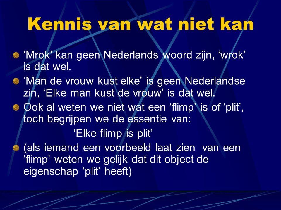 Kennis van wat niet kan 'Mrok' kan geen Nederlands woord zijn, 'wrok' is dat wel. 'Man de vrouw kust elke' is geen Nederlandse zin, 'Elke man kust de