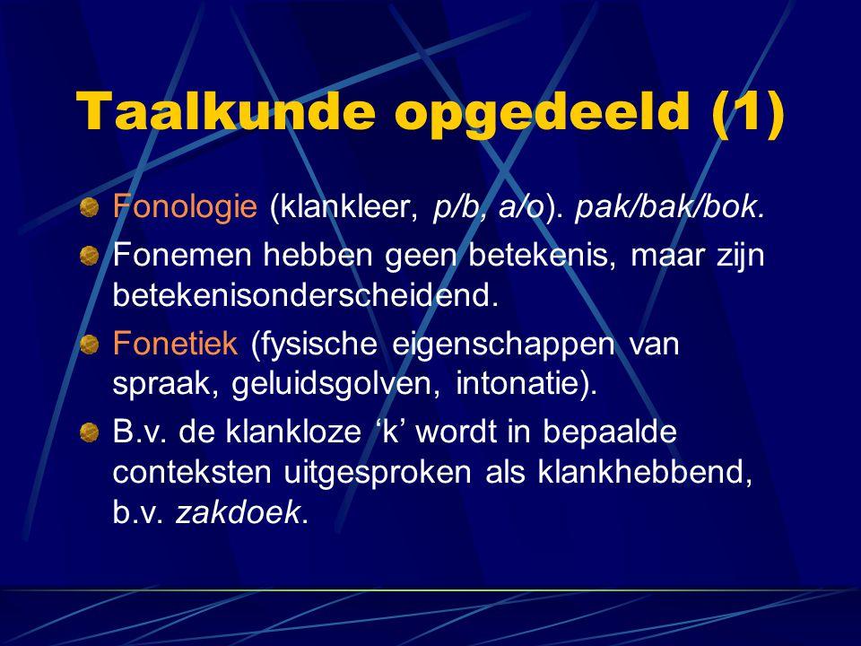 Taalkunde opgedeeld (1) Fonologie (klankleer, p/b, a/o). pak/bak/bok. Fonemen hebben geen betekenis, maar zijn betekenisonderscheidend. Fonetiek (fysi