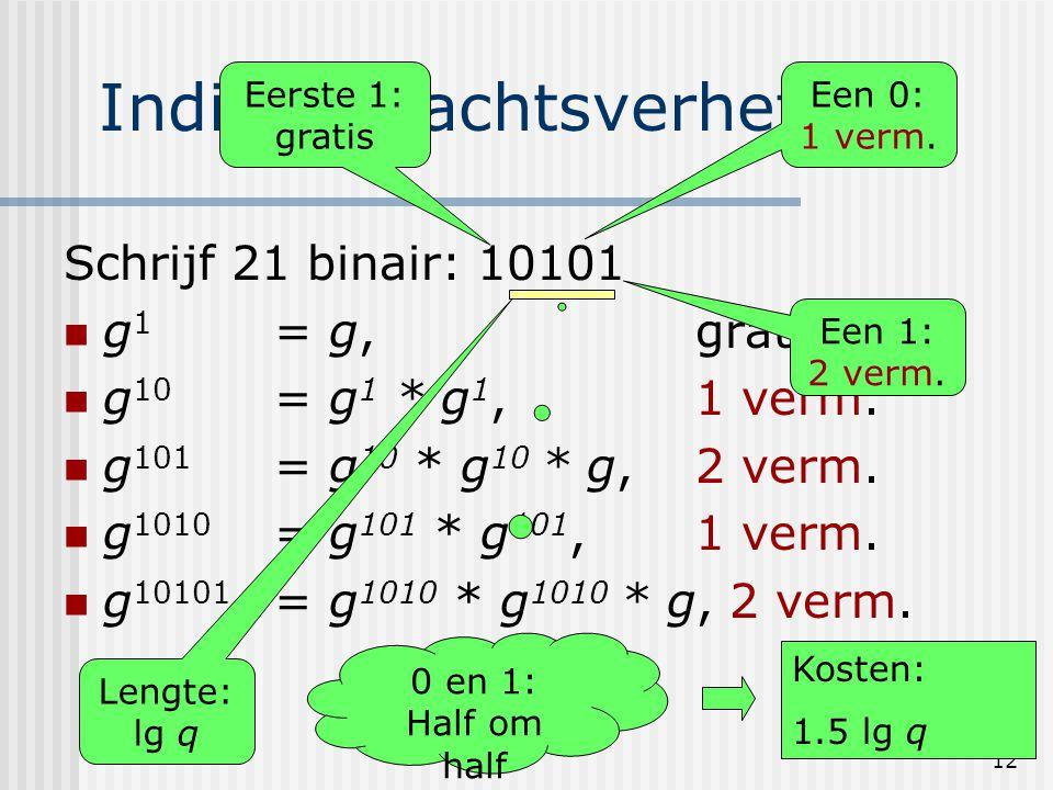 12 Indiaas machtsverheffen Schrijf 21 binair: 10101 g 1 = g, gratis g 10 = g 1 * g 1, 1 verm. g 101 = g 10 * g 10 * g, 2 verm. g 1010 = g 101 * g 101,
