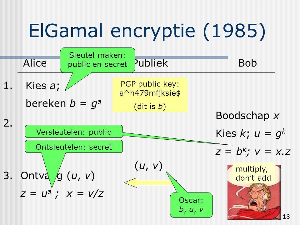 18 ElGamal encryptie (1985) AlicePubliekBob 1.Kies a; bereken b = g a PGP public key: a^h479mfjksie$ (dit is b) 2. Boodschap x Kies k; u = g k z = b k
