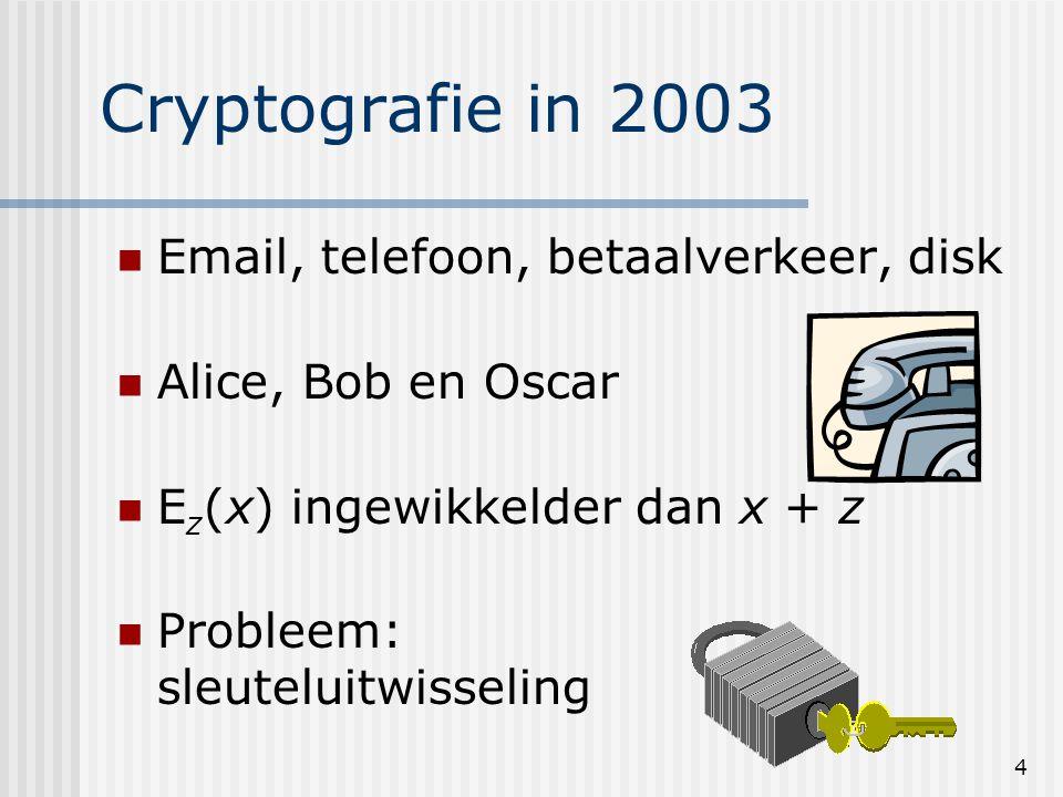 4 Cryptografie in 2003 Email, telefoon, betaalverkeer, disk Alice, Bob en Oscar E z (x) ingewikkelder dan x + z Probleem: sleuteluitwisseling