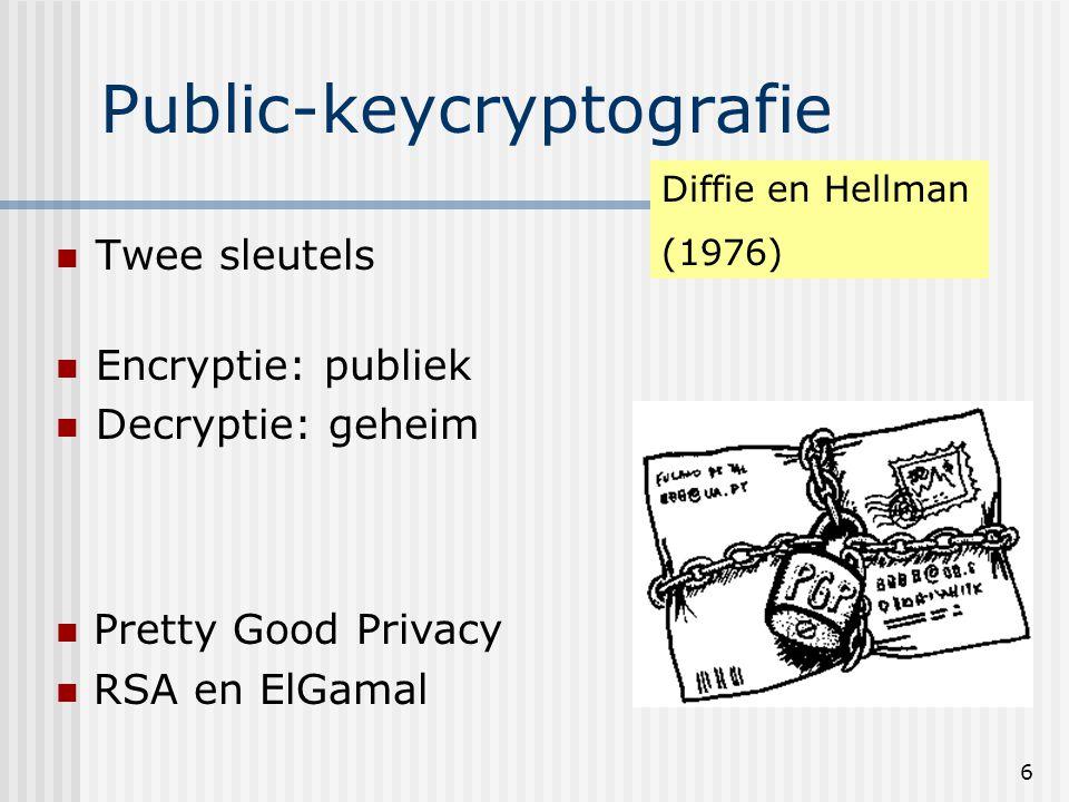 6 Public-keycryptografie Twee sleutels Encryptie: publiek Decryptie: geheim Diffie en Hellman (1976) Pretty Good Privacy RSA en ElGamal