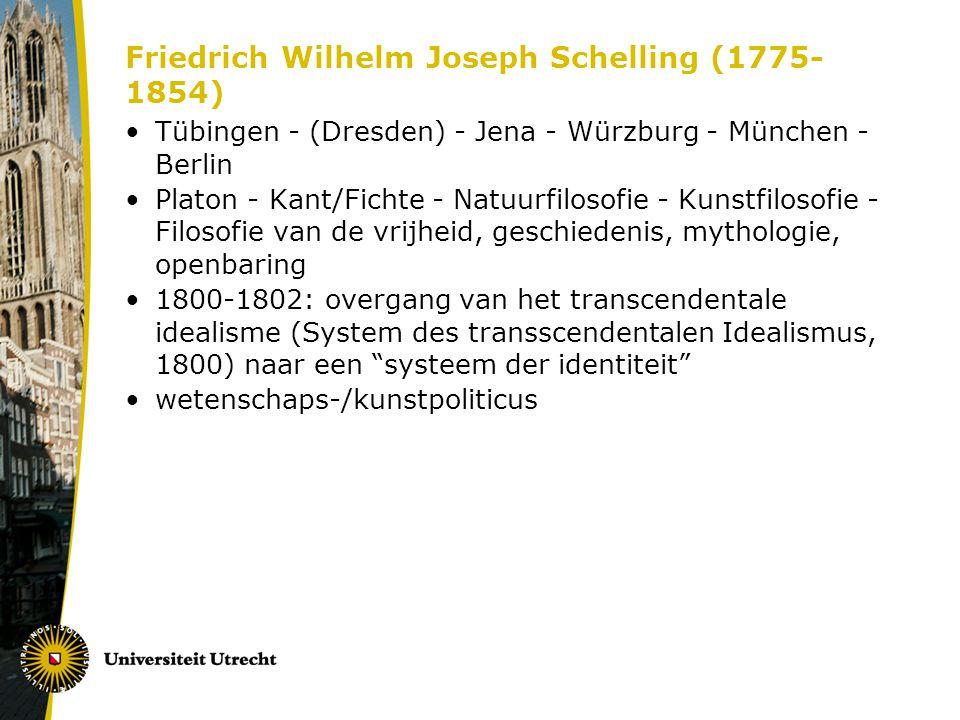 Friedrich Wilhelm Joseph Schelling (1775- 1854) Tübingen - (Dresden) - Jena - Würzburg - München - Berlin Platon - Kant/Fichte - Natuurfilosofie - Kun