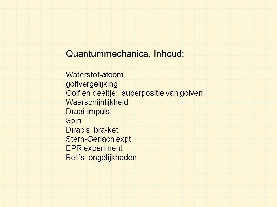 Quantummechanica nu Quantummechanica is een van de meest succesvolle en precieze theorieën van de natuurkunde Quantummechanica is o.a.