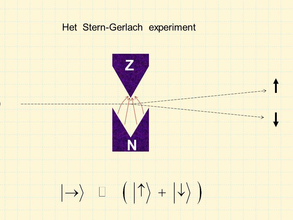 Een Stern-Gerlach experiment stelt ons in staat de spin van een deeltje te meten: hoeveel % is op en hoeveel % is neer .