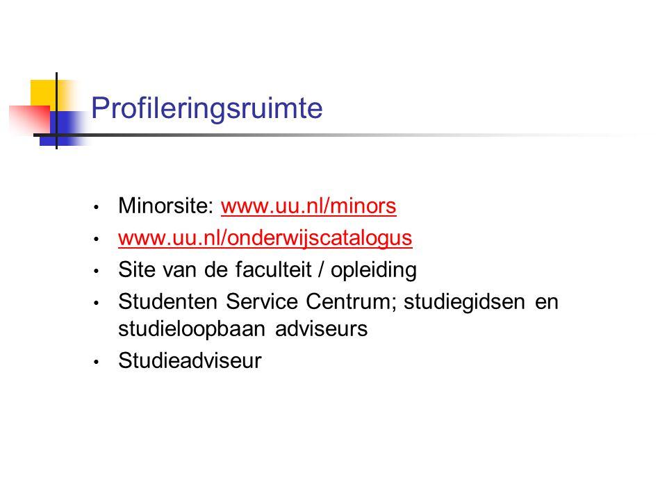 Profileringsruimte Minorsite: www.uu.nl/minorswww.uu.nl/minors www.uu.nl/onderwijscatalogus Site van de faculteit / opleiding Studenten Service Centrum; studiegidsen en studieloopbaan adviseurs Studieadviseur