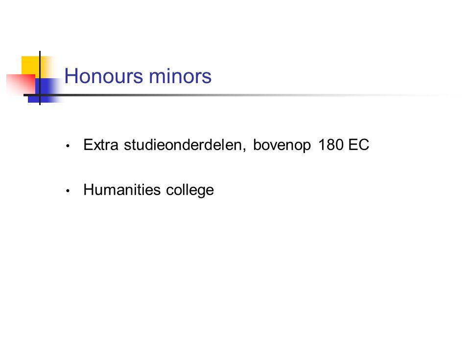 Honours minors Extra studieonderdelen, bovenop 180 EC Humanities college