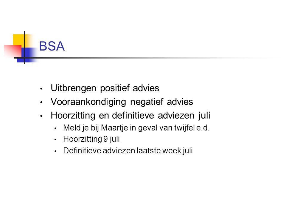 BSA Uitbrengen positief advies Vooraankondiging negatief advies Hoorzitting en definitieve adviezen juli Meld je bij Maartje in geval van twijfel e.d.