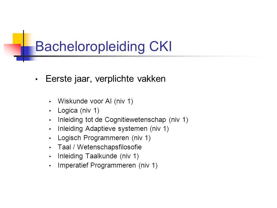 Bacheloropleiding CKI Eerste jaar, verplichte vakken Wiskunde voor AI (niv 1) Logica (niv 1) Inleiding tot de Cognitiewetenschap (niv 1) Inleiding Adaptieve systemen (niv 1) Logisch Programmeren (niv 1) Taal / Wetenschapsfilosofie Inleiding Taalkunde (niv 1) Imperatief Programmeren (niv 1)