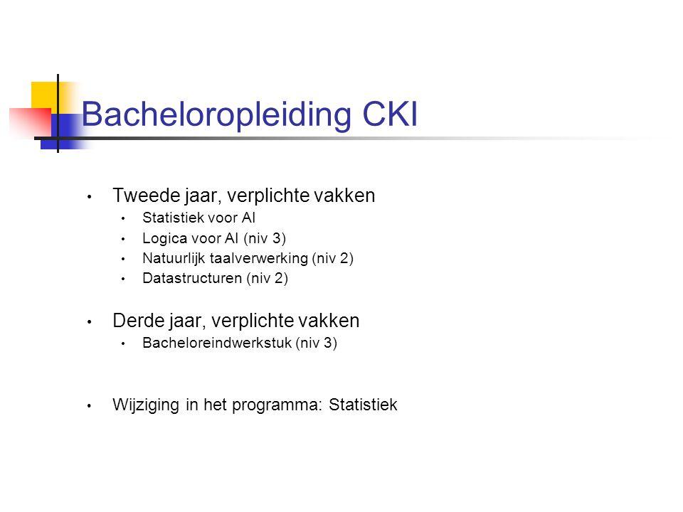 Bacheloropleiding CKI Tweede jaar, verplichte vakken Statistiek voor AI Logica voor AI (niv 3) Natuurlijk taalverwerking (niv 2) Datastructuren (niv 2) Derde jaar, verplichte vakken Bacheloreindwerkstuk (niv 3) Wijziging in het programma: Statistiek