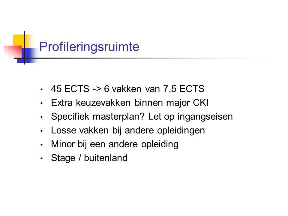 Profileringsruimte 45 ECTS -> 6 vakken van 7,5 ECTS Extra keuzevakken binnen major CKI Specifiek masterplan.